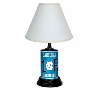 North Carolina Tarheels License Plate Lamp w/White Shade
