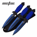 """Perfect Point 7"""" Blue Throwing Knife 3 Pc Set"""