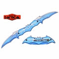 Razor Tactical Double Blade Assisted Opening Bat Knife- Blue & silver