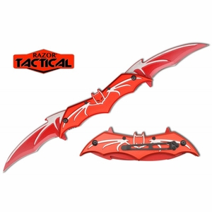 Razor Tactical Double Blade Assisted Opening Bat Knife- Red & silver
