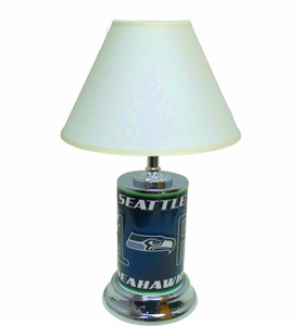 Seattle Seahawks License Plate Lamp w/White Shade