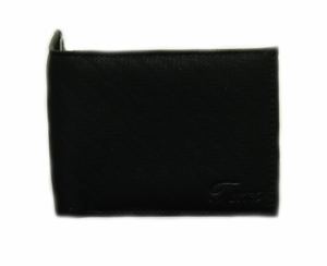 Tems Handcrafted Perforated Design Black Leather Bi-fold Wallet - Click to enlarge