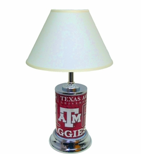 Texas A&M License Plate Lamp w/White Shade