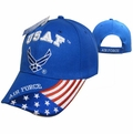 U.S. Air Force Emblem & American Flag Blue Cap