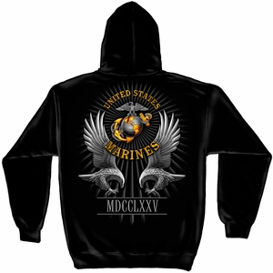 United States Marine Corps Founded 1775 Hooded Sweat Shirt - Click to enlarge
