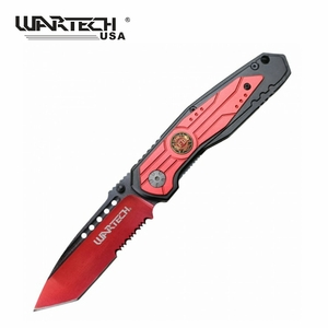 Wartech Modern Fire Fighter Assisted Opening Knife- Red and Black
