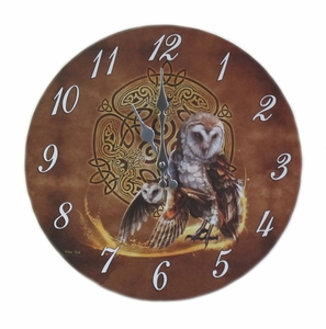 Wise Owl Celtic Knot Art Clock