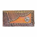 Women's Brown/Tan Leather Checkbook with State of Texas and Star Metal Concho Wallet