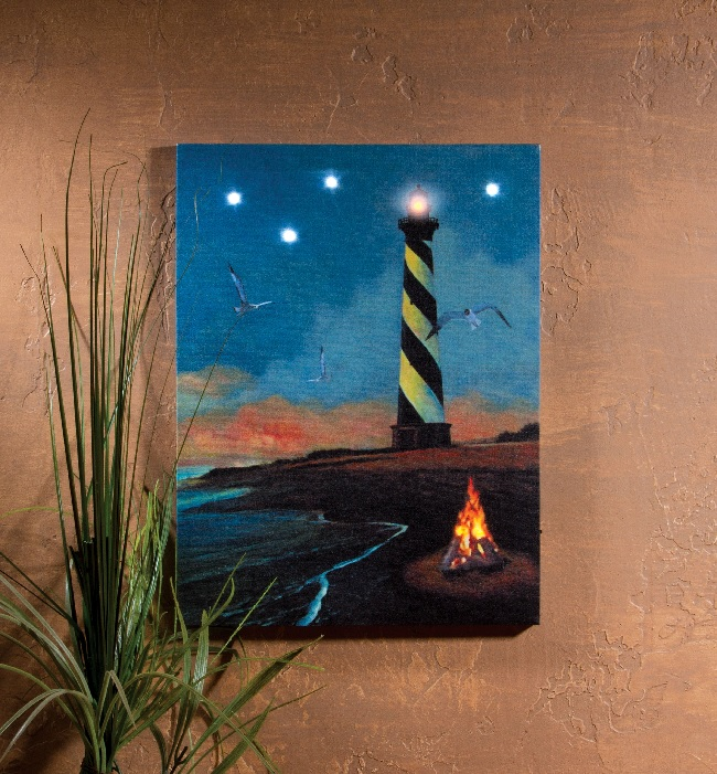 radiance lighted canvas hatteras lighthouse shelley b home and holiday. Black Bedroom Furniture Sets. Home Design Ideas