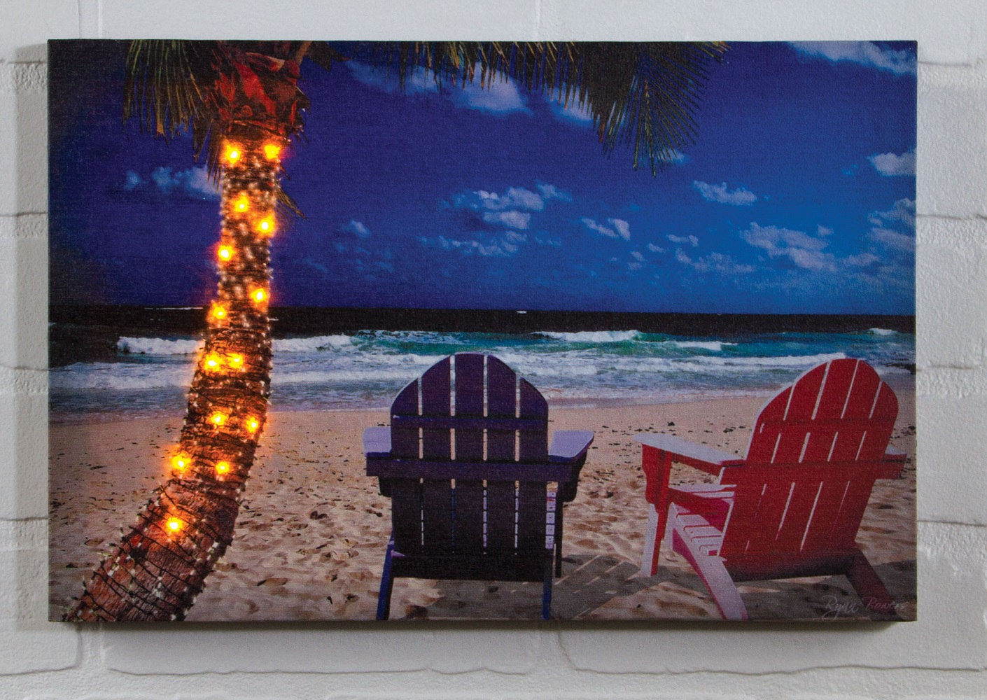 Radiance Lighted Canvas Palm Tree With Lights Shelley B