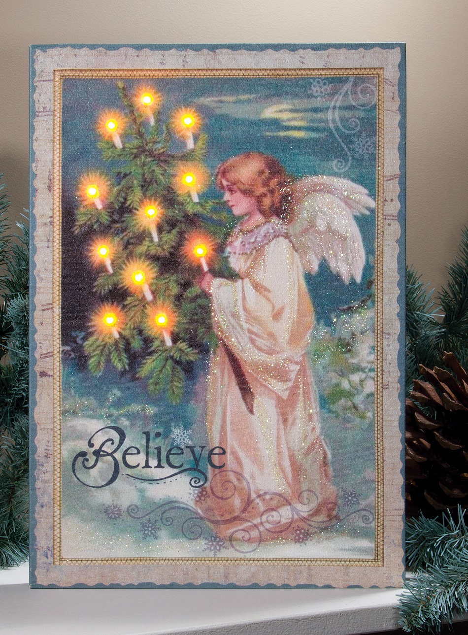 Home Depot Illuminated Canvas : Believe angel with vintage old fashion christmas tree