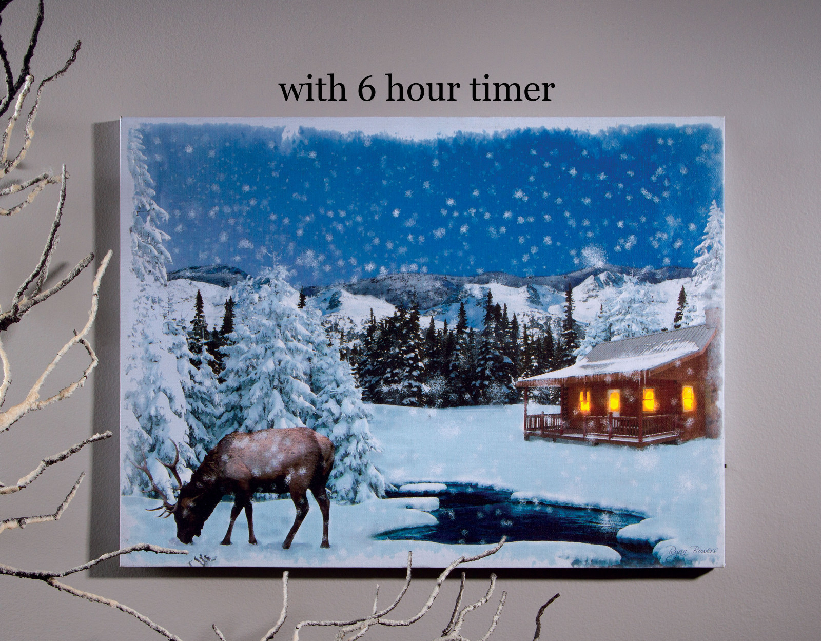 Lighted Picture Winter Picture Moose and Cabin