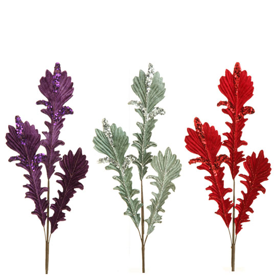Raz ornament delight acanthus leaf spray set of 3 for Acanthus leaf decoration