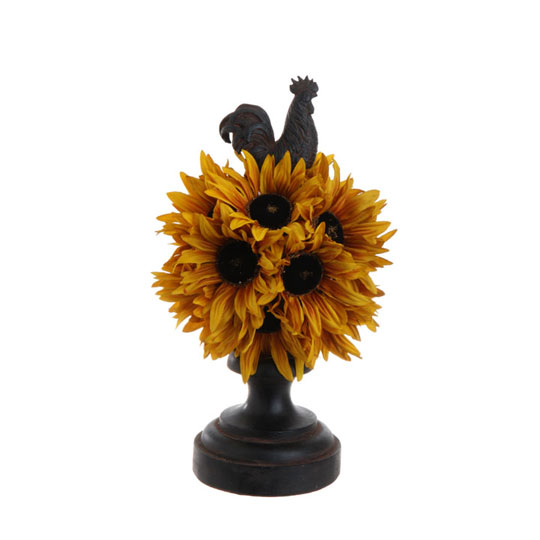 Raz sunflower topiary with roostertop shelley b home and holiday Shelley b home decor
