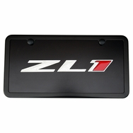 Camaro ZL1 Black License Plate Tag and Black Frame