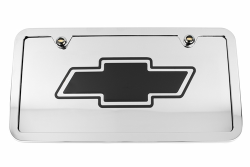 Chevrolet Bowtie Chrome License Plate Tag and Stainless Steel Frame