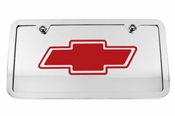 Chevrolet Bowtie Chrome License Plate Tag and Stainless Steel Frame - Red