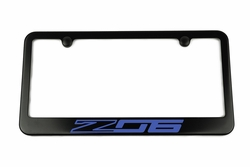 Chevrolet Corvette C7 Z06 Satin-Black License Plate Frame Blue