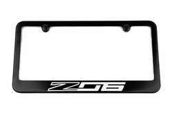 Chevrolet Corvette C7 Z06 Satin-Black License Plate Frame White