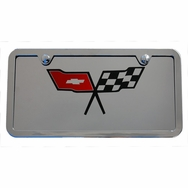 Chevrolet Corvette Classic Flags Logo Chrome Plate Frame Tag