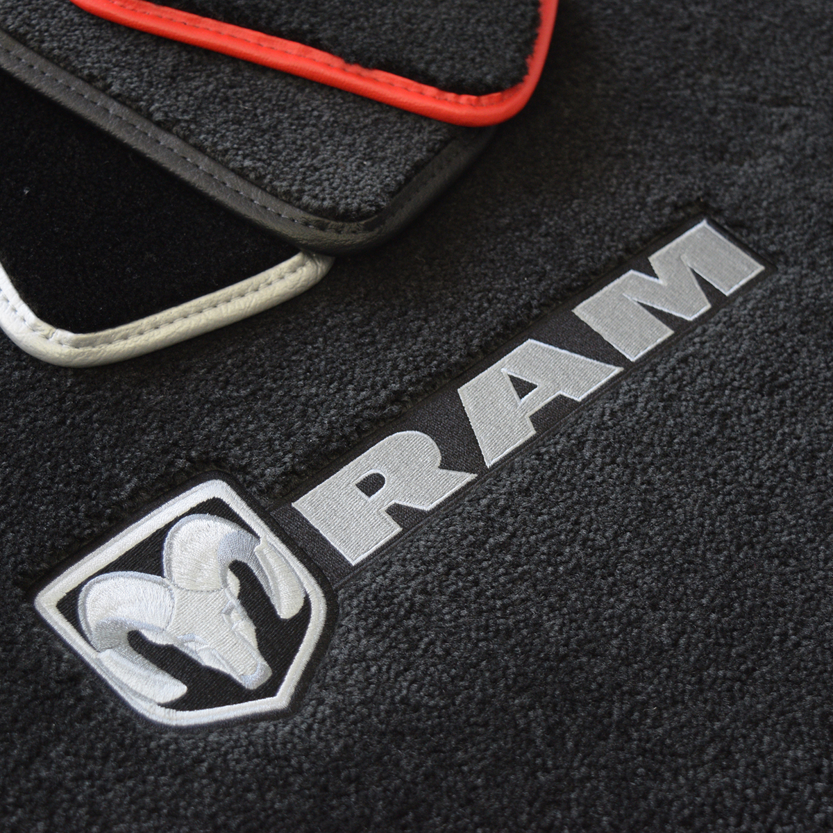 dodge ram floors rubber row mat logo mats red floor black with plasticolor