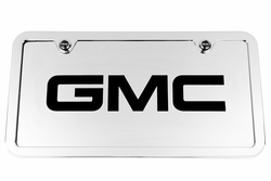 GMC Chrome License Plate Tag and Stainless Steel Frame - Black