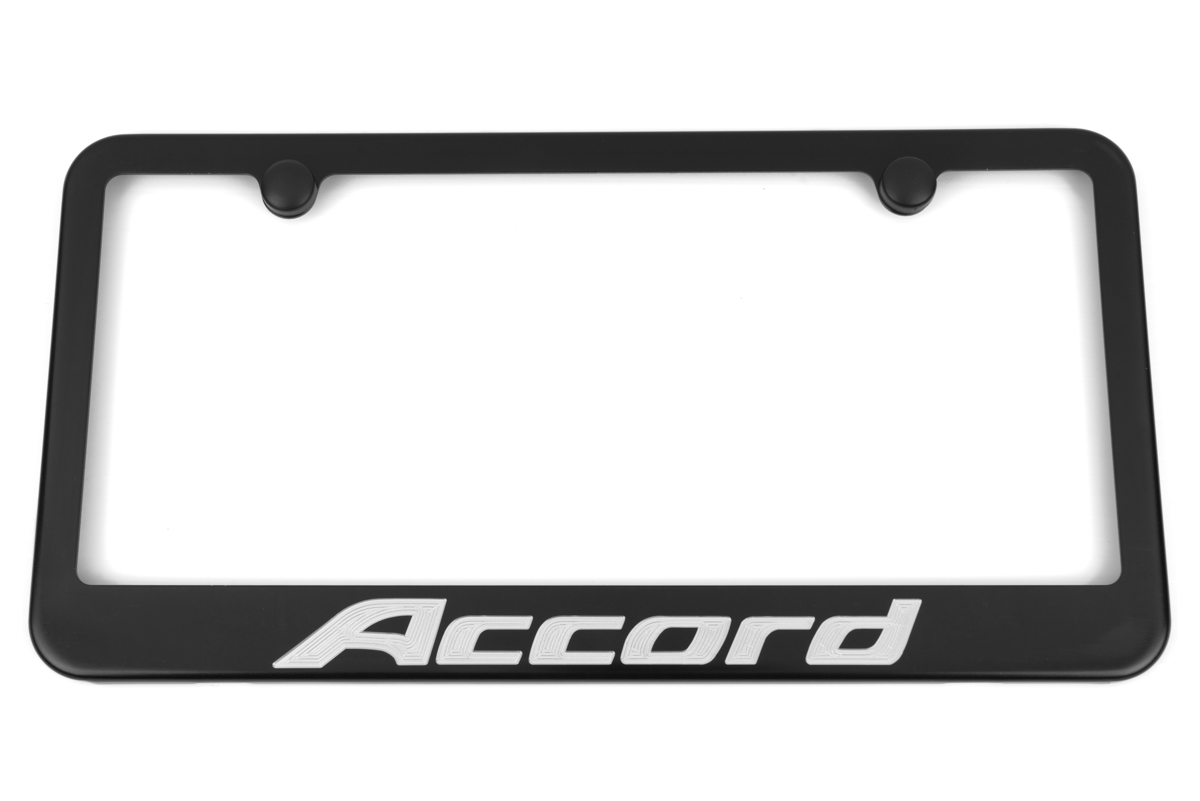 Honda Accord Satin Black Engraved License Plate Frame