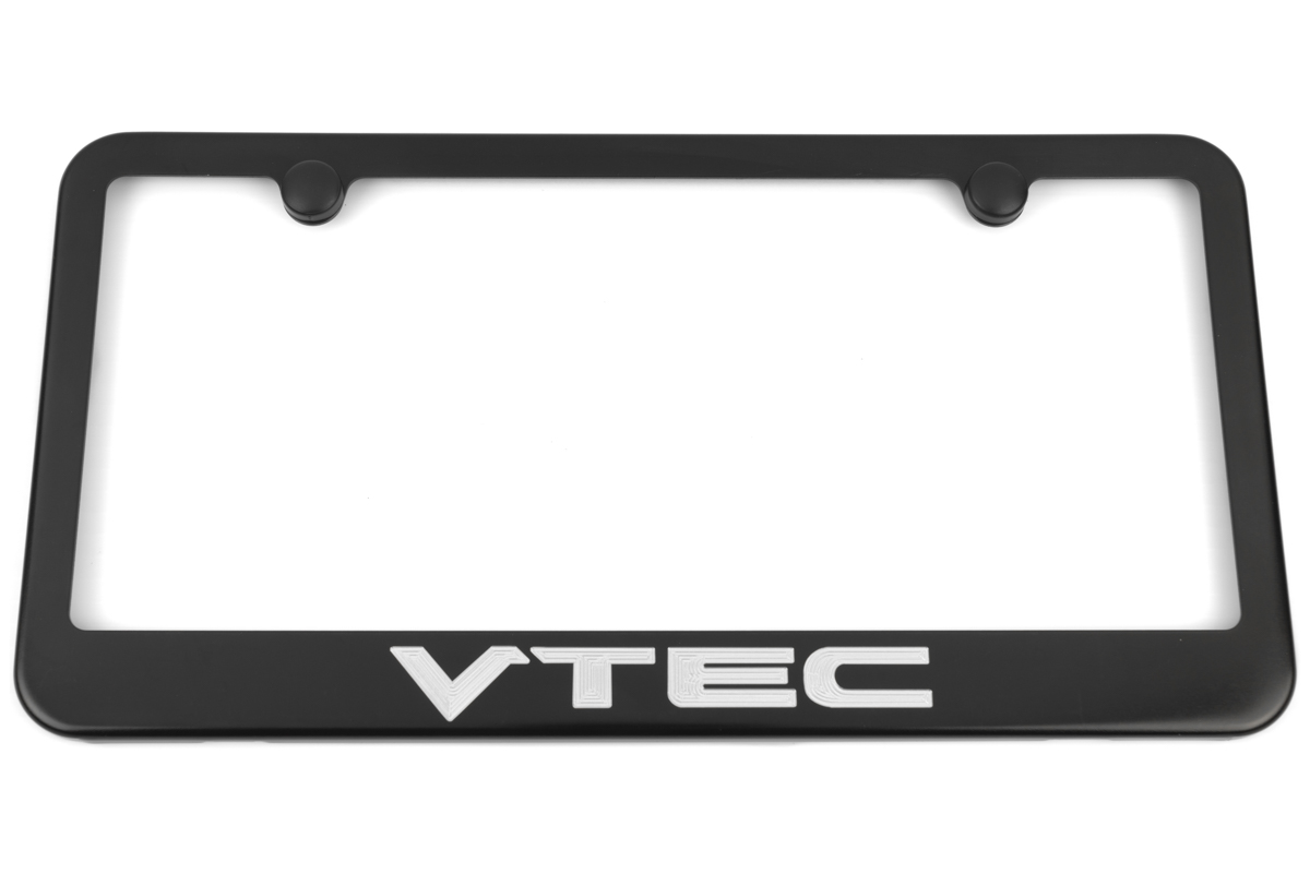 Honda Vtec Satin Black Engraved License Plate Frame