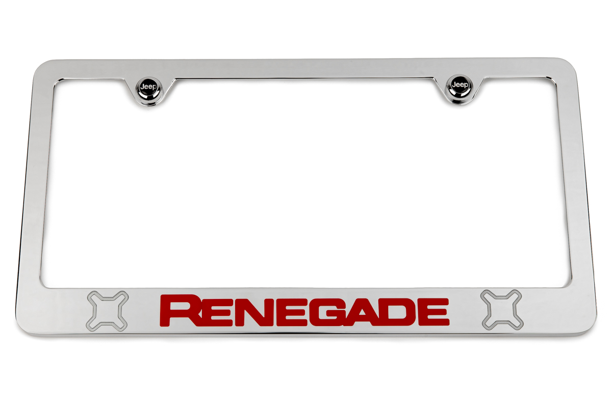 Jeep Renegade Chrome License Plate Frame - Red & Silver Logos