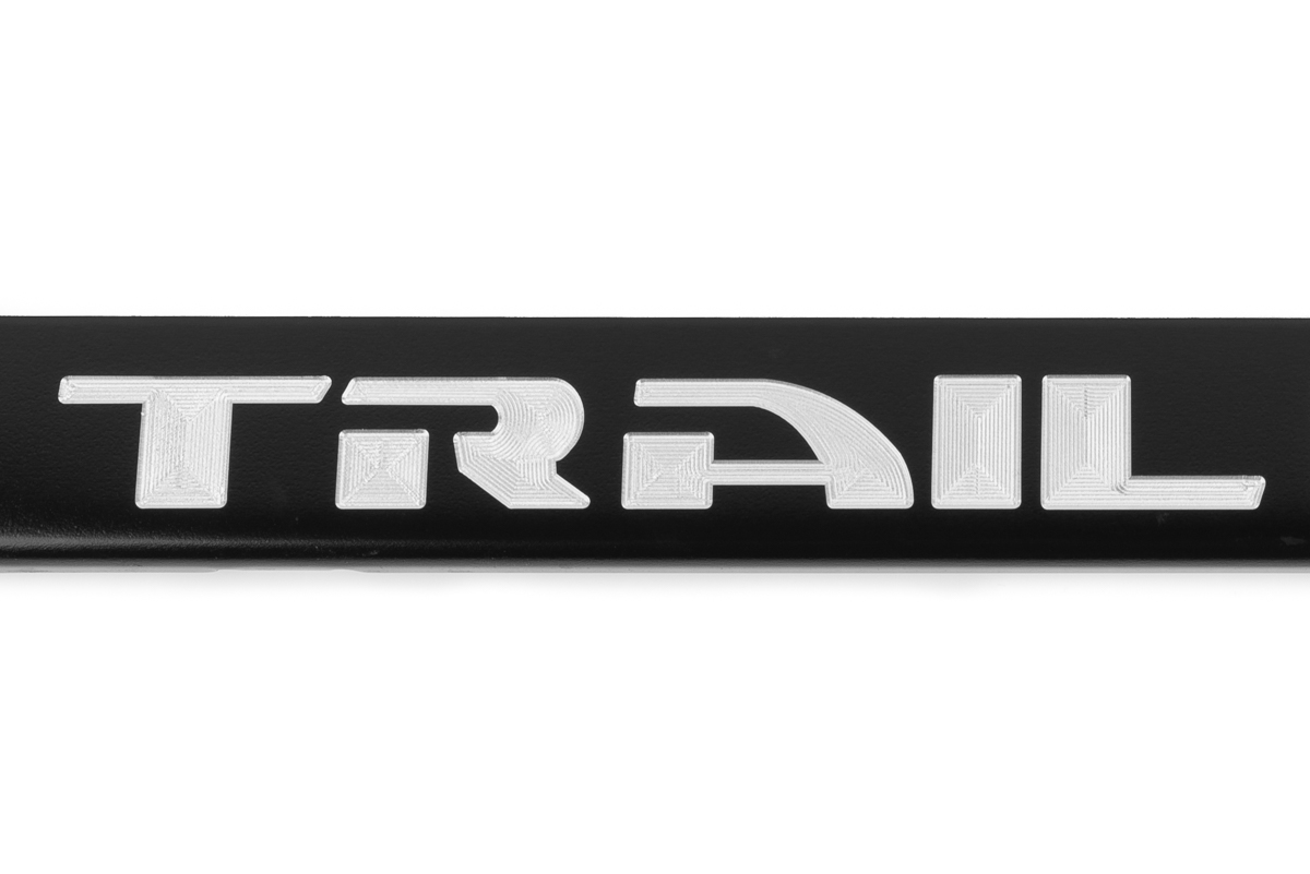 Jeep Trail Hawk Black License Plate Frame with Red Trail Hawk Logo