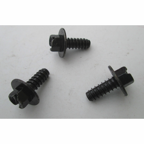 """1/4""""(#14) 5/16 Indented Hex Head License Plate Screws Slotted Black Finish (25)"""