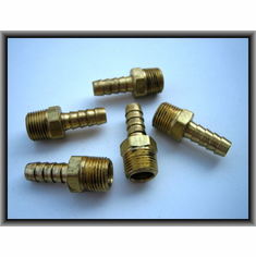 "3/8""-3/8"" Hose Barb to Taper Male Pipe Brass Fittings (5)"