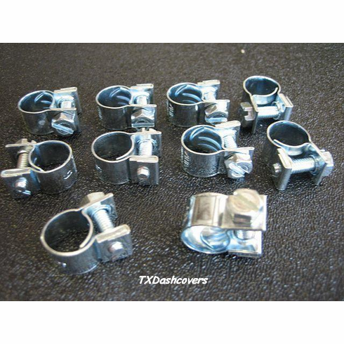 """7/16"""" TO 1/2"""" Miniature Hose Clamps Type-G ZINC (10)"""