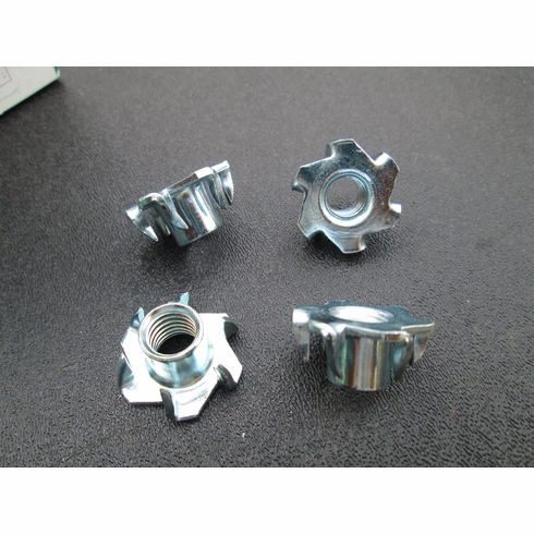 """Tee Nuts 3/8""""-16 6-Prong Low Carbon Steel (25) Round Base"""