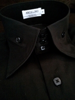 Angelino Bello Black High Collar Shirt 18 (3XL) fits like a 2XL