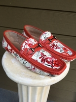 Mens Floral Red Trim Driving Loafers size 10.5