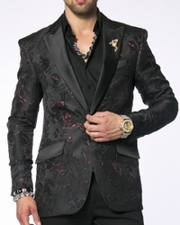 Angelino Black Flower Blazer