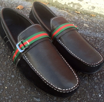 Angelino Black Leather Suede Slipon Shoes