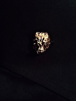Angelino Black Lion Head High Collar Shirt(close up view)