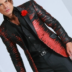 Angelino Black Red Fade Sequin Blazer -special order