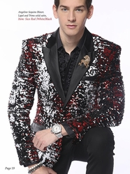 Blowout Sale -Angelino Black Red White Silver Sequin Blazer (36R or 46L)