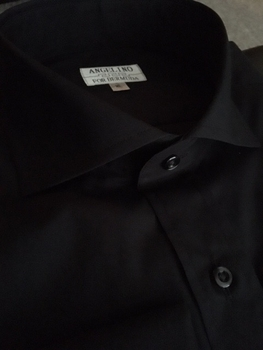Angelino Black Spread Collar Shirt