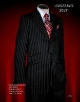 Angelino Black w/White Pinstripe Suit