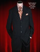 Angelino Black with Beige and Blue pinstripe suit