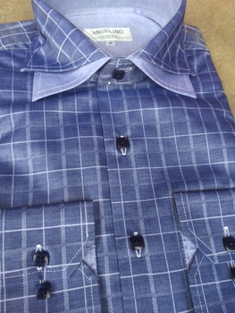 Angelino Navy Check Spread Double Collar Shirt size S(15.5)