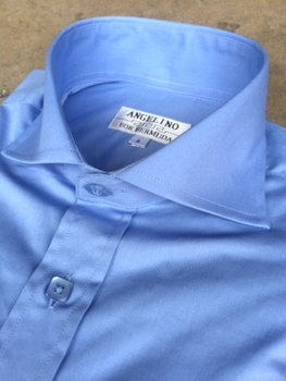 Angelino Blue Spread Collar Shirt