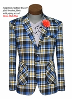 Angelino Blue Plaid Blazer