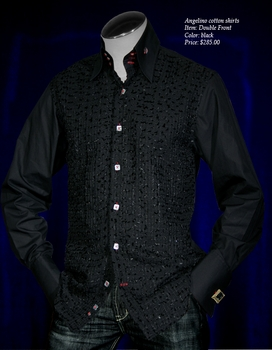 Angelino Double Front High Collar Shirt  Black Special Order