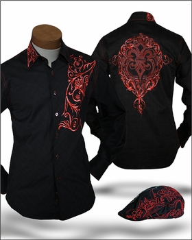 Angelino Giorgio Black Embroidered Shirt with matching cap