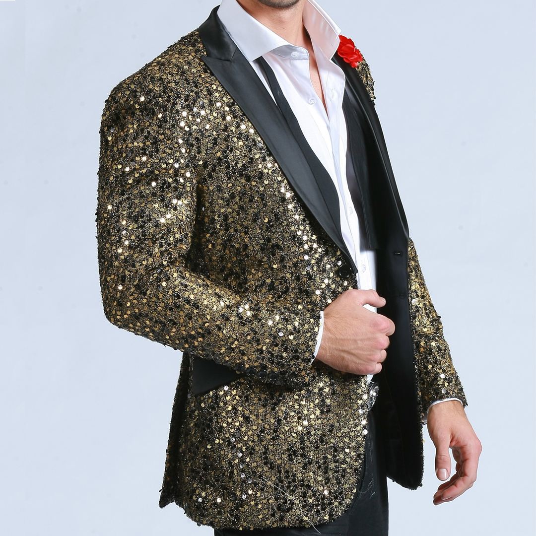 Mens black and silver sequin tuxedo jacket with satin black peak lapel. This fashionable tuxedo jacket is made of a luxurious rayon viscose/ dacron blend fabric that looks and feels like super wool. Ideal for weddings, proms, black tie, and.
